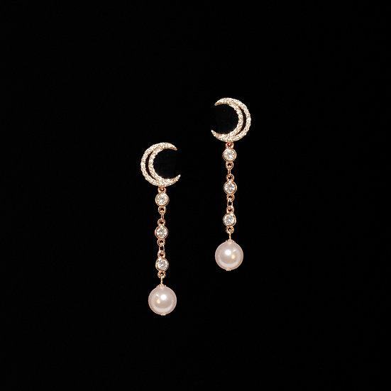 BESS GRANDEUR S925 Rose Gold Zircon & Swarovski Crystal Pearl Drop Earrings
