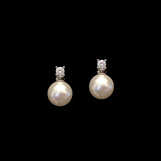 GUSTAVE Sterling Silver Zircon & Swarovski Crystal Pearl Drop Earrings
