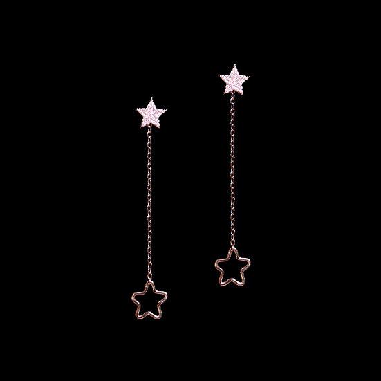 ATTA KYA S925 Rose Gold Zircon Two Way Earrings