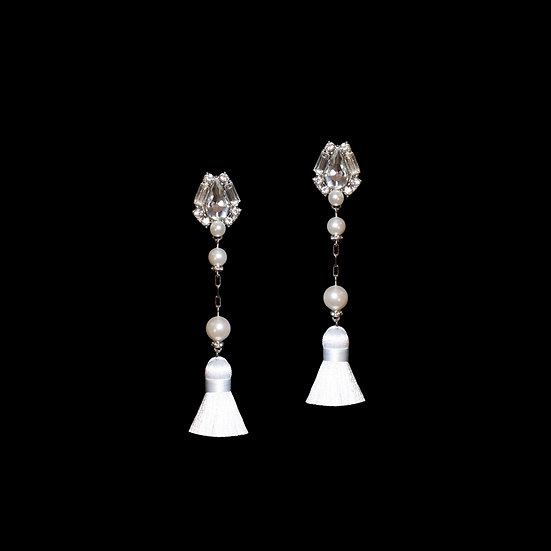 HELENA KYA Swarovski Crystal Pearl Tassel Earrings