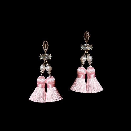 SALOME KYA Swarovski Crystal Pearl Vintage Tassel Earrings