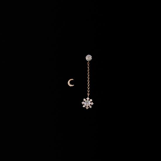 ROMANCE MOON & SNOW S925 Rose Gold Zircon Drop Earrings