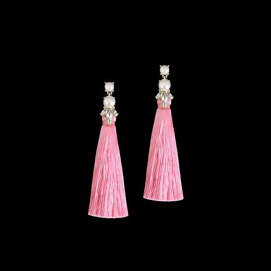 GEMMA Crystal & Pearl Vintage Tassel Earrings