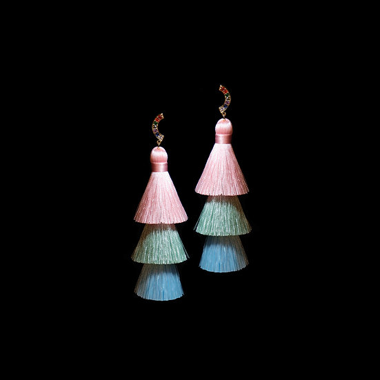 ROSY Zircon Tassel Earrings