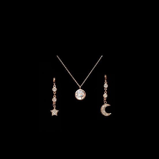 MOON & STAR S925 Rose Gold Zircon Gift Set