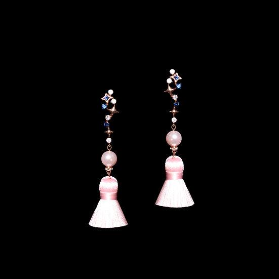 LEVANA GRANDEUR Crystal & Pearl Vintage Tassel Earrings