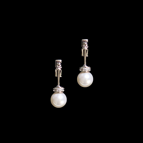 BELLE Zircon & Swarovski Crystal Pearl Drop Earrings