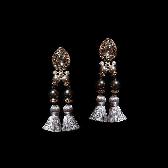 CORELLA Swarovski Crystal Pearl Vintage Tassel Earrings