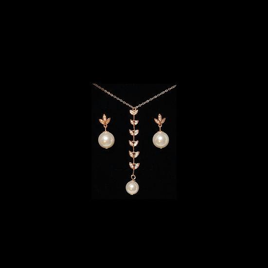 YEVGENIYA S925 Rose Gold Zircon & Pearl Gift Set