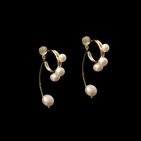 CHLOE GOLD Freshwater Pearl Two Way Earrings
