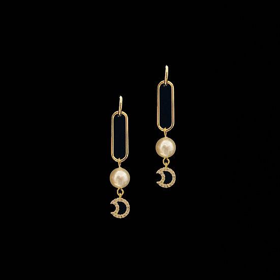 AMARIS Zircon & Swarovski Crystal Pearl Hoop Earrings