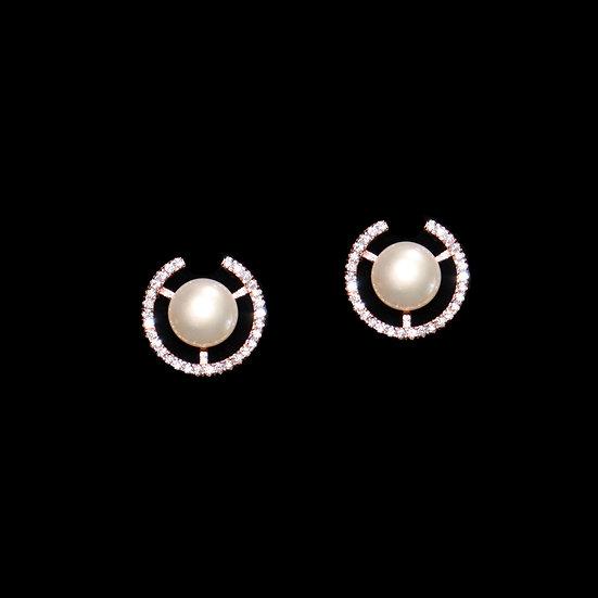 CZARINA KYA S925 Rose Gold Zircon & Freshwater Pearl Stud Earrings
