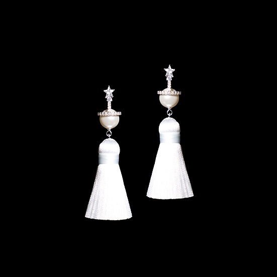 CARLS Zircon & Swarovski Crystal Pearl Tassel Earrings