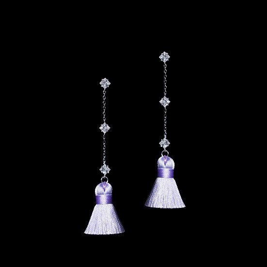 SAVANNAH KYA Sterling Silver Zircon Tassel Earrings