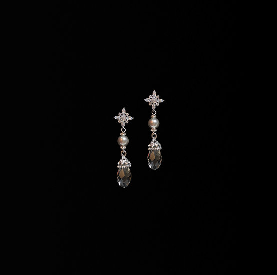 AALIYAH Sterling Silver Zircon & Swarovski Crystal Pearl Drop Earrings