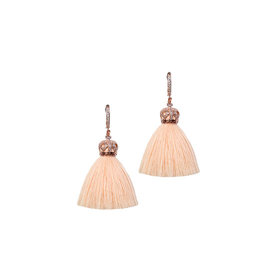 DARLENE 24K Rose Gold Plated Zircon Tassel Hoop Earrings