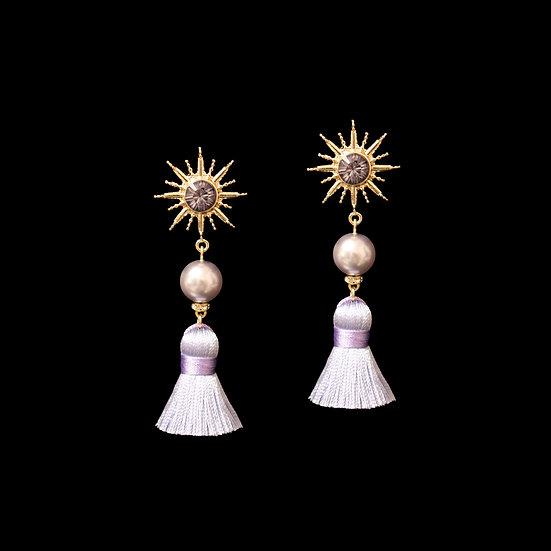 KACI Swarovski Crystal Pearl Vintage Tassel Earrings