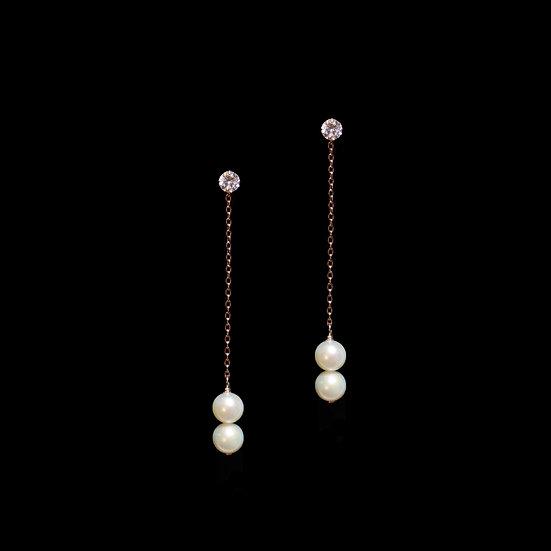 DAMLA S925 Rose Gold Zircon & Freshwater Pearl Drop Earrings