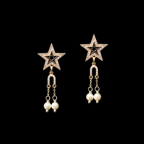 STARLENE Zircon & Swarovski Crystal Pearl Drop Earrings