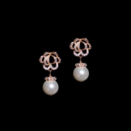 QUEENA GRANDEUR S925 Rose Gold Zircon & Swarovski Crystal Pearl Drop Earrings