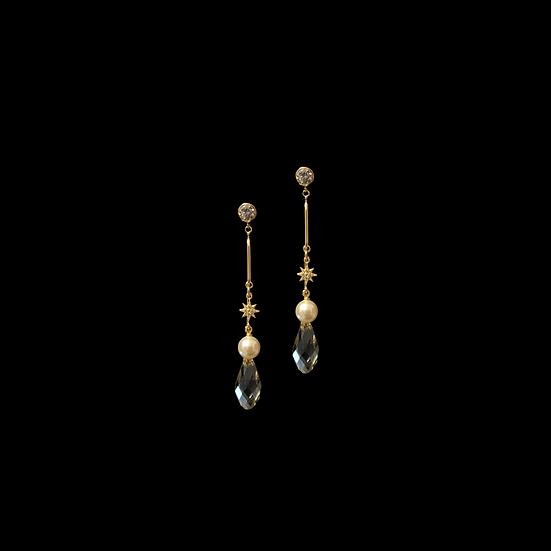 BRIANNA Zircon & Swarovski Crystal Pearl Drop Earrings