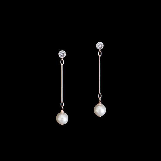 LOUSIA GRANDEUR S925 Rose Gold Zircon & Swarovski Crystal Pearl Drop Earrings