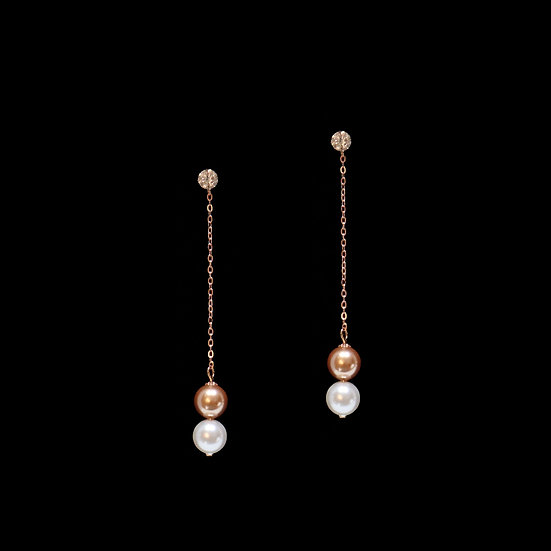 GRACE S925 Rose Gold Zircon & Swarovski Crystal Pearl Drop Earrings