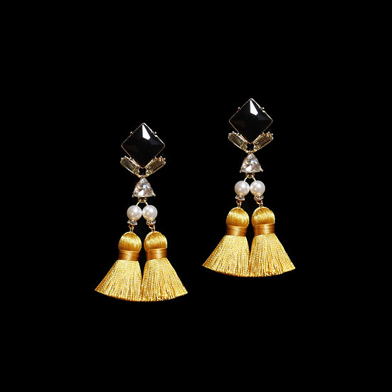 SIBYL Swarovski Crystal Pearl Vintage Tassel Earrings