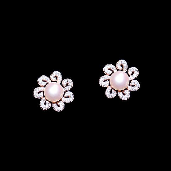 AMBROSIA KYA S925 Rose Gold Zircon & Freshwater Pearl Stud Earrings