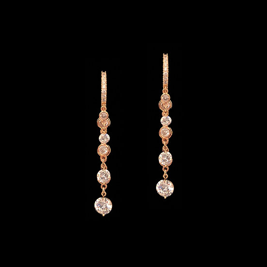 FARRAH S925 Rose Gold Zircon Hoop Earrings