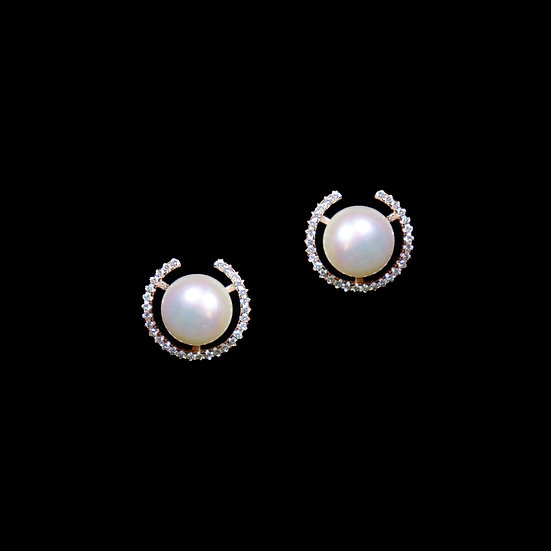 CZARINA S925 Rose Gold Zircon & Freshwater Pearl Stud Earrings