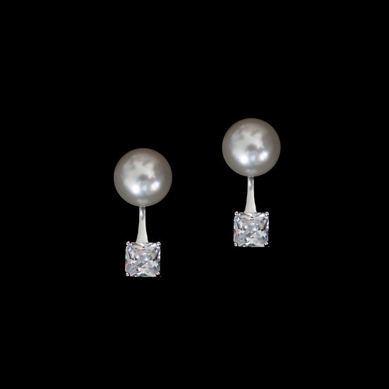SILVERDEW Zircon & Swarovski Crystal Pearl Two Way Earrings