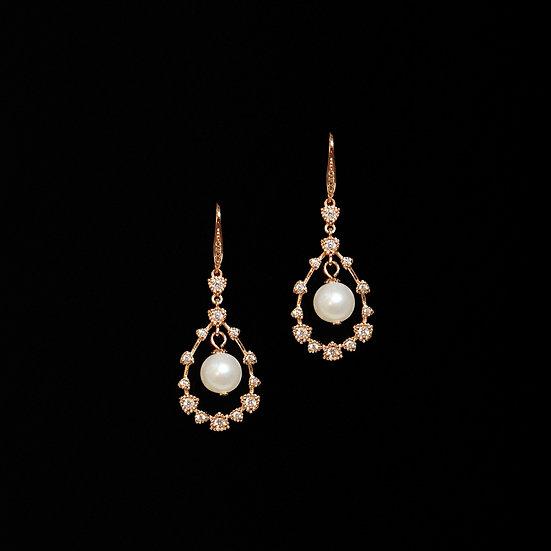ADELAIDE S925 Rose Gold Zircon & Freshwater Pearl Drop Earrings