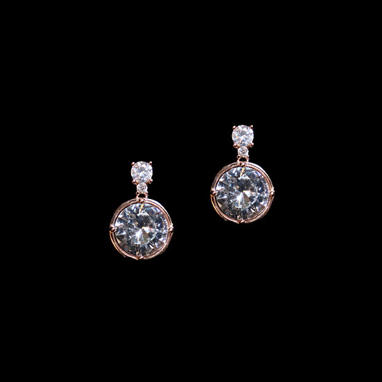 EUGENIA GRANDEUR S925 Rose Gold Zircon Earrings