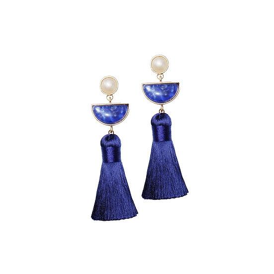 BRENDA Pearl & Artifical Stone Vintage Tassel Earrings
