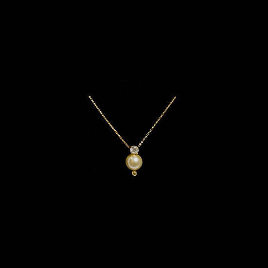 LEAN S925 Gold Plated Zircon & Swarovski Crystal Pearl Necklace