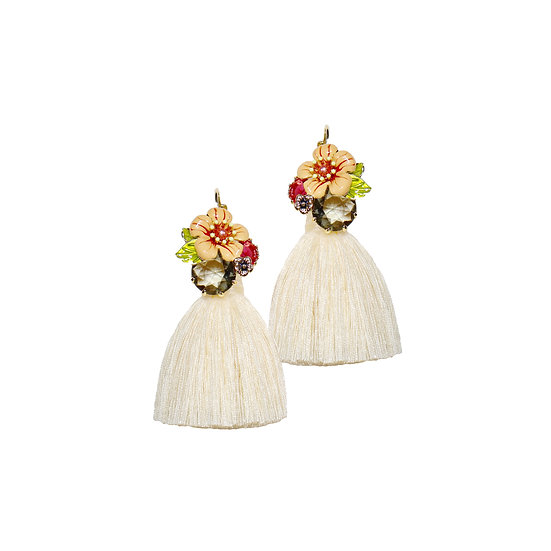 MARIAN Crystal Vintage Tassel Hoop Earrings
