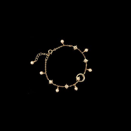 ( PRE-ORDER ) GOLD - LA LUNE Zircon & Swarovski Crystal Pearl Bracelet