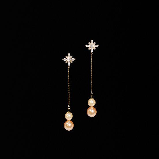 FAUSTINE Zircon & Swarovski Crystal Pearl Drop Earrings