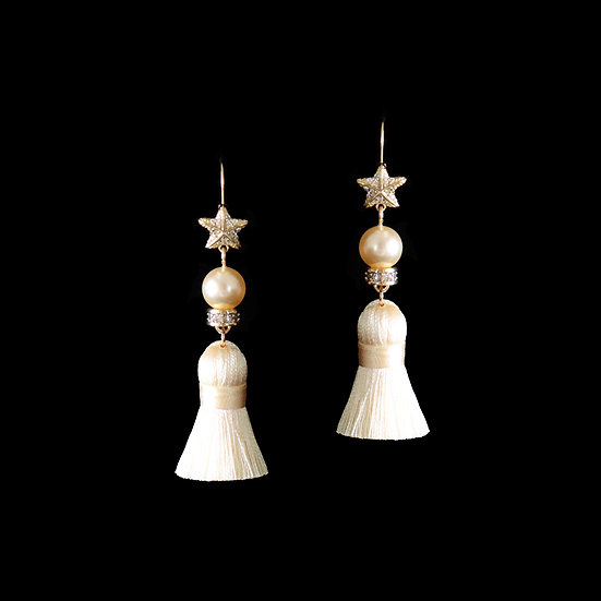 MYKHAILA S925 Gold Plated Zircon & Swarvoski Crystal Pearl Tassel Hoop Earrings
