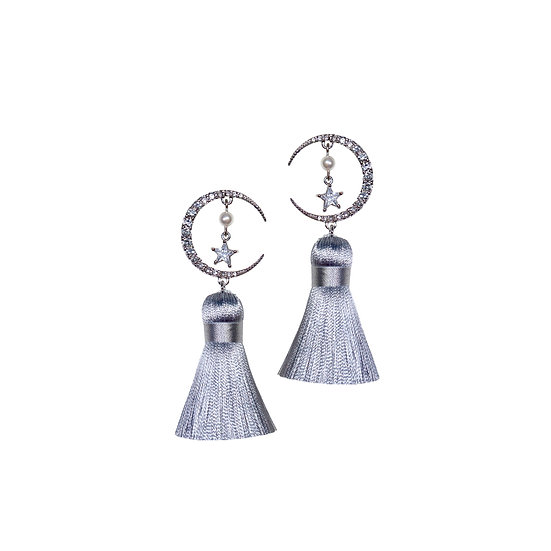 SEMINE Zircon & Pearl Vintage Tassel Earrings