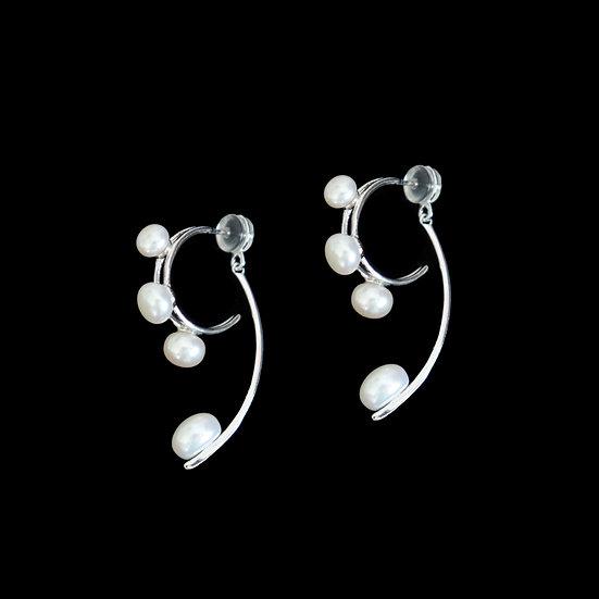 CHLOE SILVER Freshwater Pearl Two Way Earrings