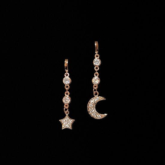 MOON & STAR S925 Rose Gold Zirocn Hoop Earrings