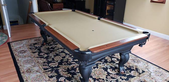 Pool table assembled in customers home in Maine by Maine Pool Table Services, Jeff Robitaille, 207-240-1458