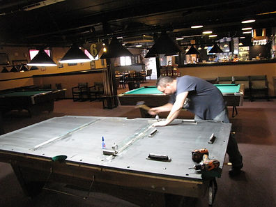 Maine Pool Table Services, Jeff installing pool table 207-240-1458
