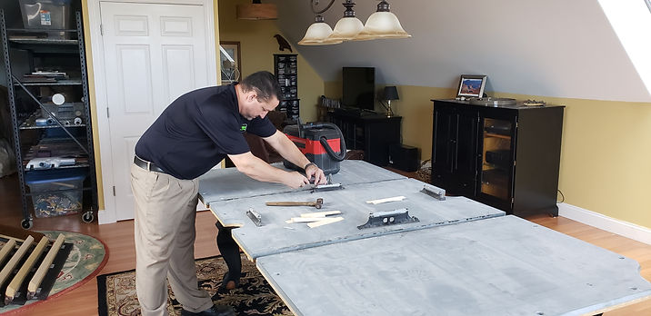Maine Pool Table Services, Jeff, assembling pool table in customers home