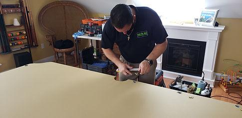 Refleting billiard pool table by Jeff, Maine Pool Table Services, Auburn, Maine