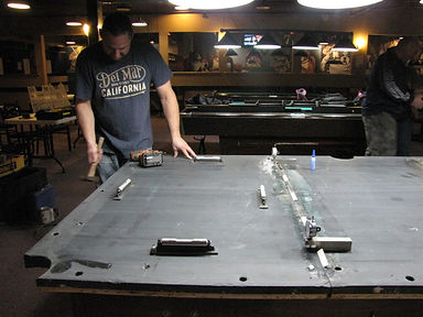 Maine Pool Table Services Jeff Robitaille at 207-240-1458 repairing pool table, Lewiston Me