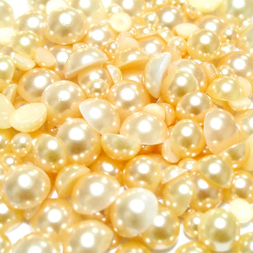 800pcs Assorted Size Flat Back Pearls - Champagne