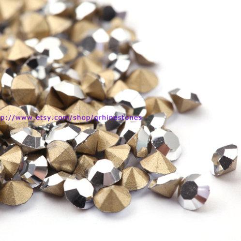 Pointed Back Rhinestones - Metallic Silver